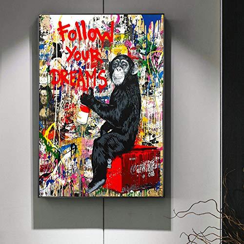 mmzki Folgen Sie Ihren Träumen Street Wall Graffiti Kunst Leinwand Gemälde abstrakte Einstein Pop-Art Leinwanddrucke für Kinderzimmer Dekor 60X100CM