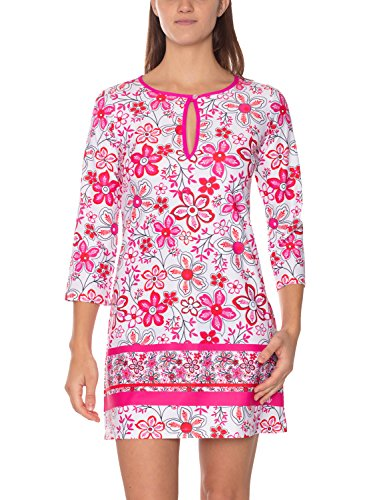 IQ UV Damen UV Schutz Tunika Strandkleid Hippie Segeln Freizeit, Mehrfarbig (pink/4339), M (40)