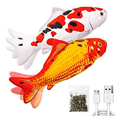 """TOOGE 2 Pack 11"""" Electric Moving Fish Cat Toy Realistic Interactive Flopping Fish Cat Kicker Catnip Toys for Indoor Cats Pets Kitten (Orange) by TOOGE"""