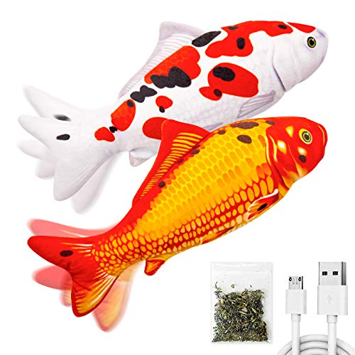 TOOGE 2 Pack 11' Electric Moving Fish Cat Toy Realistic Interactive Flopping Fish Cat Kicker Catnip Toys for Indoor Cats Pets Kitten (Koi)