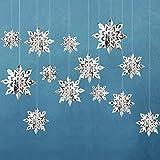 RuRu monkey Winter Christmas Hanging Snowflake Decorations - 12PCS Snowflakes Garland & 12PCS 3D Glittery Large White Snowflake for Christmas (Silver)