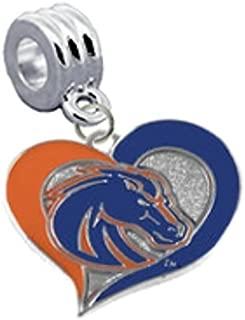 CustomCharms Boise State Broncos Swirl Heart Universal European Bracelet Charm Fits Pandora, Troll, Biagi, Chamilia & More
