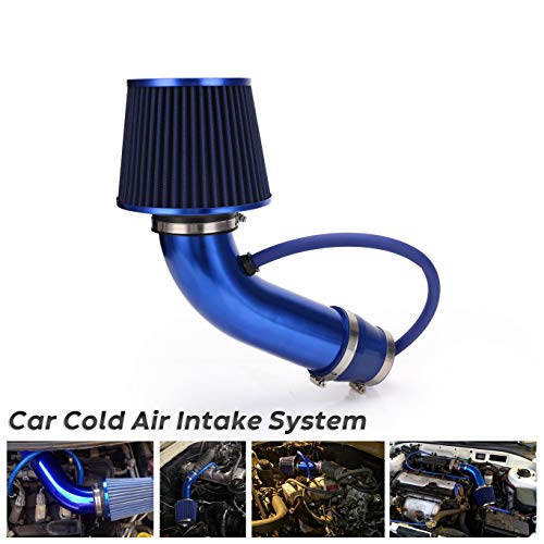 76mm 3 Inch Car Cold Air Intake Pipe Universal Blue Aluminium Automotive Air Filter Induction Flow Hose Pipe Kit with Air Intake Aluminum Pipe,Mounting Bracket,Tube Horse,Lock Rings