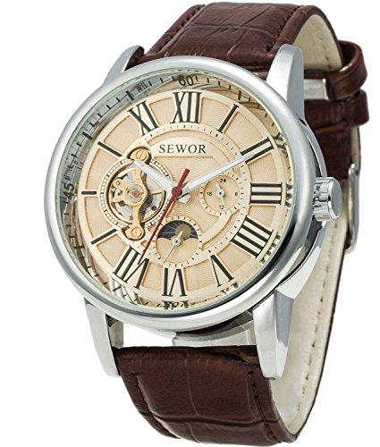 Sewor Tourbillon - Reloj de Pulsera mecánico automático para Hombre, Correa de Piel, tamaño Grande (Oro)