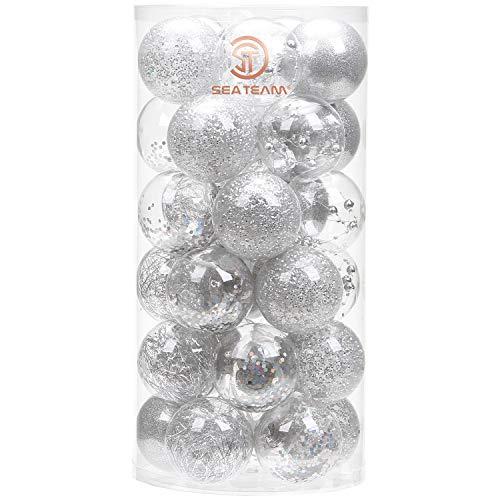 CRYSTAL KING 30 palline in acrilico da 4 cm divisibili per albero di Natale trasparenti trasparenti set di palline in acrilico da appendere