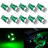 194 LED Light bulb, Tinpec 5th Generation, Interior Lights for W5W 194 168 2825 T10 Wedge, Replacement and Reverse T10 Green Bulbs (Pack of 10)- Green