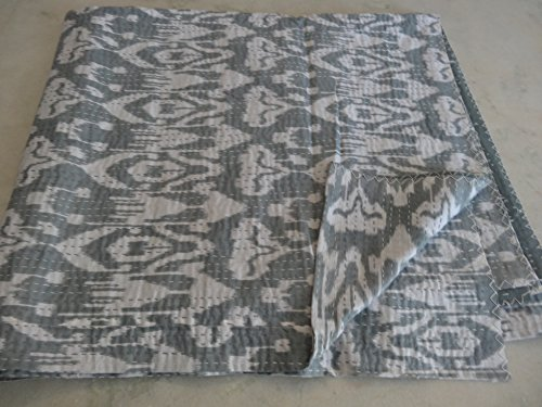 Tribal Asian Textiles Indische Ikat Kantha Quilt bestickte Tagesdecke Überwurf Gudri Queen Decke 01