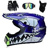 YXLM Casco de motocross MX para niños, casco de moto ATV, casco D.O.T, certificado, casco de tiburón, multicolor con guantes, casco de motocross infantil, casco integral (azul, S)