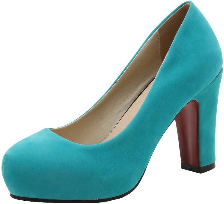 AllhqFashion Women's Pull-On Brazil Velvet Round-Toe High-Heels Pumps-shoes