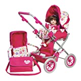 Adora Adjustable Handle Deluxe Stroller with Diaper & Carriage Bag for Dolls