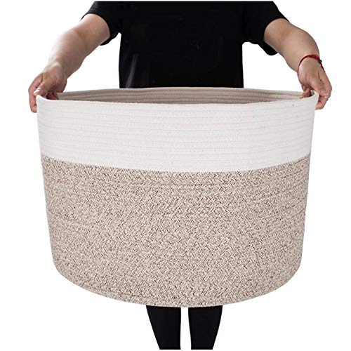 Mintwood Design Extra Large 22 x14 Inches Decorative Woven Cotton Rope Basket, Laundry Basket, Blanket Basket, Baby and Dog Toy Storage Baskets Bin, Kid Laundry Hamper, Towel Basket