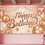 IIYBC Geburtstag Banner, Groß Rose Gold Geburtstagsbanner, Hintergrund Banner Happy Birthday, Geburtstag Party Dekoration, Geburtstagsplakat für Kinder und Mädchen