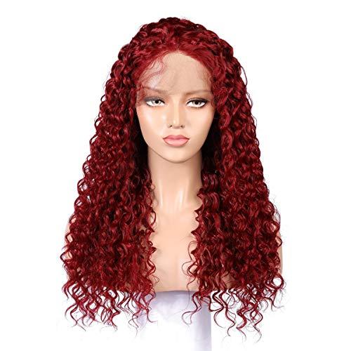 No branded Perruque de Cheveux Perruque brésilienne de 150% de densité for Les Femmes Noires pré plumée Remy (Color : Rouge, Size : 20inch)