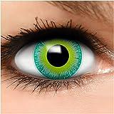 FUNZERA® Lentillas de Colores Green Alien + recipiente para lentes de contacto, sin dioptrías pack...