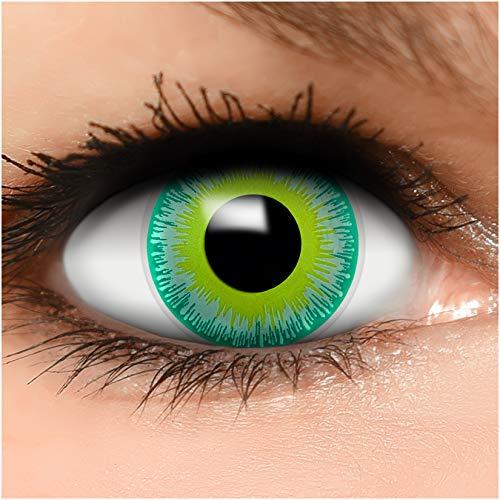 FUNZERA® Lentillas de Colores Green Alien + recipiente para lentes de contacto, sin dioptrías pack de 2 unidades - cómodas y perfectas para Halloween, Carnaval, sin corregir
