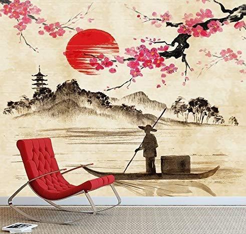 3D Ventanas Pvc Decoracion Hogar Posters Para Paredpaisaje Con Pescador En El Lago Fondo De Acuarela Japonesa Tradicional Mural De Pared Fondo De Pantalla De Fotos
