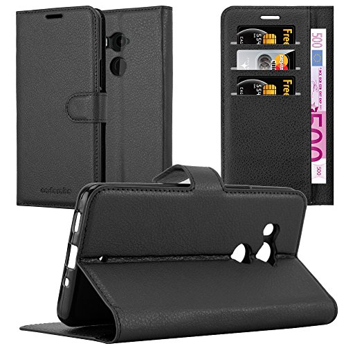 Cadorabo Hülle für HTC U11 Plus - Hülle in Phantom SCHWARZ – Handyhülle mit Kartenfach & Standfunktion - Case Cover Schutzhülle Etui Tasche Book Klapp Style