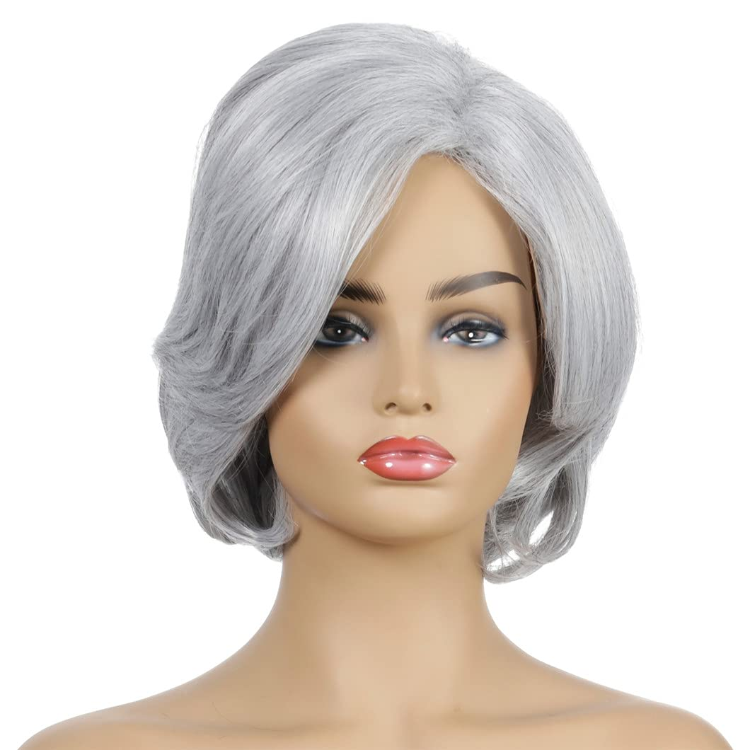 Short Bob Wavy Wig Directly managed store For Women Synthetic Max 55% OFF Gray Wigs Part Silver