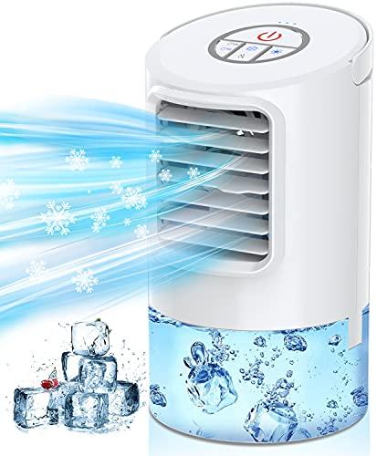 Raffreddatore D'aria Nuaer, Condizionatore D'aria Portatile, 3-in-1 Mini Air Cooler Evaporativo Personale/Umidificatore/Ventilatore da Tavolo con Timer 2h/4h e 7 Colori Luce per Ufficio e Casa