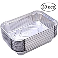 OUNONA Bandeja de aluminio de aluminio 30pcs 570ml barbacoa desechable bandeja de goteo Lin Liners para grasa Catch Pans reemplazo de bandejas del forro sin cubierta