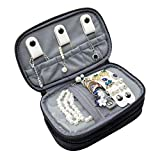 ProCase Jewelry Case Travel Organizer Bag, Soft Padded Double Layer Jewelry Carrying Pouch Portable Jewelry Storage Holder for Earrings, Rings, Necklaces, Bracelet and Chains