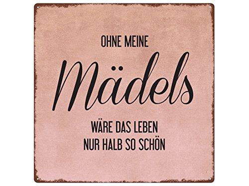 Interluxe 20x20cm METALLSCHILD Türschild OHNE Meine MÄDELS Geschenk Frau Dekoration