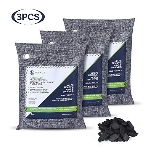 2020 Upgraded 3PCS Activated carbon, Bamboo Charcoal Air Purifying Bag, Make the air fresh and absorb the smell of the room, Suitable for Coset, Pet, Household, Car, Basement, RV Deodorant, 3Pack (3×200g)