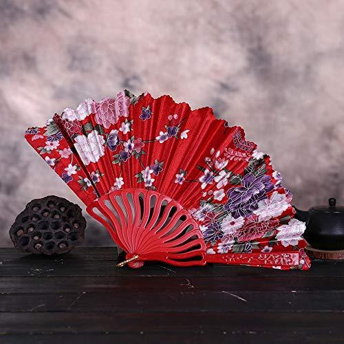 ZYHMXM Folding Fan, Vintage Kant Chinese Stijl Dans Bruiloft Hand Fans Feestjurk Accessoires Rood Vouwen Zomer Held Bloemen Fan
