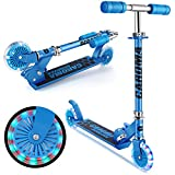 Caroma Roller Kinder Scooter Tretroller für Kinder mit LED-Beleuchtung, Tretroller, 3 höhenverstellbar, für Kinder im Alter von 3–10 Jahren, klappbarer Heckblech-Roller,Gewichtskapazität 110 lbs.