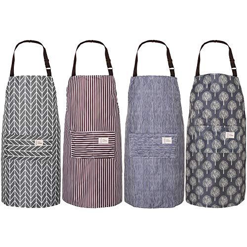 AUXSOUL 4 Piezas de Delantales de Cocina Ajustable Delantal de Cocina Impermeable Delantal de Trabajo para Hombre y Mujer