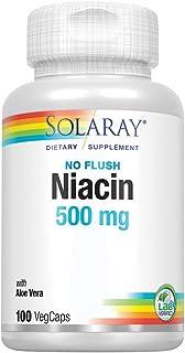 Solaray Niacin, No Flush 500mg | Vitamin B-3 for Healthy Skin, Circulatory, & Nervous System Support | Non-GMO & Vegan | 1...