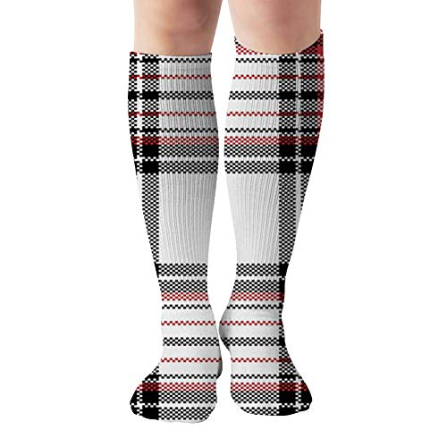 Plaid Scarf Poncho Beauty Fashion Compression Socks Women & Men, Best Athletic & Medical Running Flight Travel Pregnant 19.68 Inch