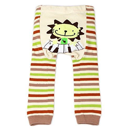 Dotty Fish Baby und Kleinkind Strickleggings. Leggings für Jungen und Mädchen. Braune und cremefarbene Streifen mit Löwen. Klein (6-12 Monate)