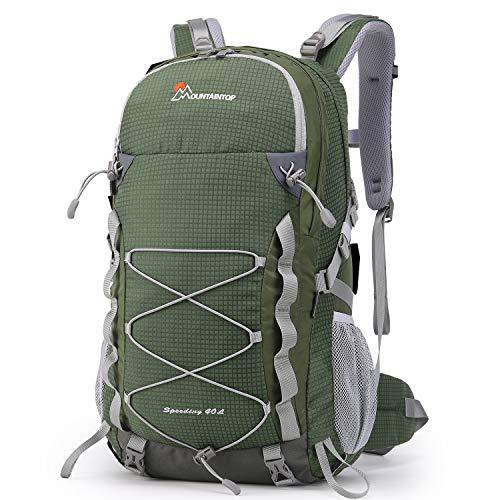 MOUNTAINTOP Mochilas Senderismo 40 litros a Montañismo Alta Capacidad Impermeable Hombre Mujer Escalada Deporte Morral con Cubierta De Lluvia para Viajes Acampadas (Ejercito Verde)