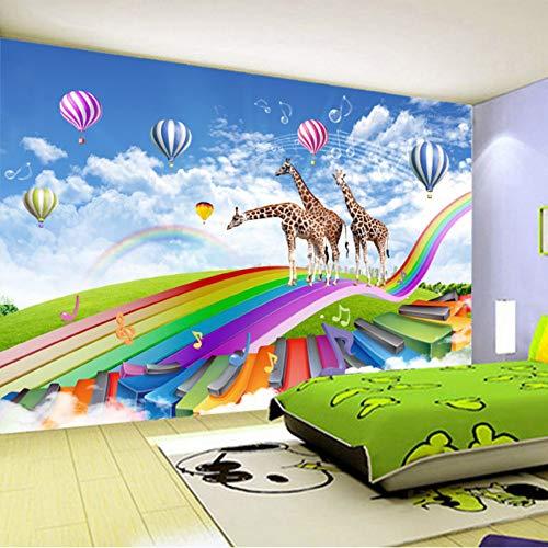 Mddj Sticker Papel De Parede Infantil 3D Wallpaper Cartoon Giraffa Rainbow Bridge Camera voor kinderen achtergrond muurschildering modern 200 x 140 cm