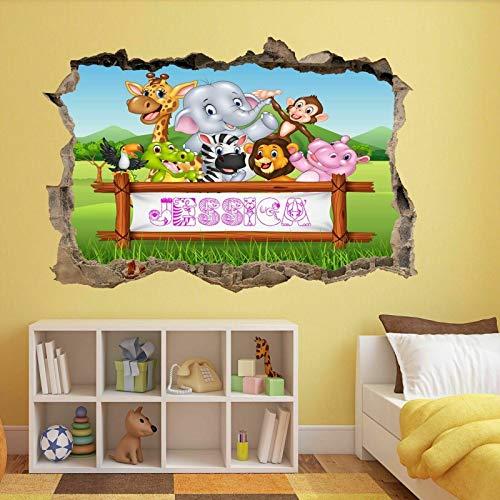 ioljk Papel Pintado Mural Personalizado Personalizado de la Etiqueta de la Pared del Nombre de los niños de los Animales de la Selva
