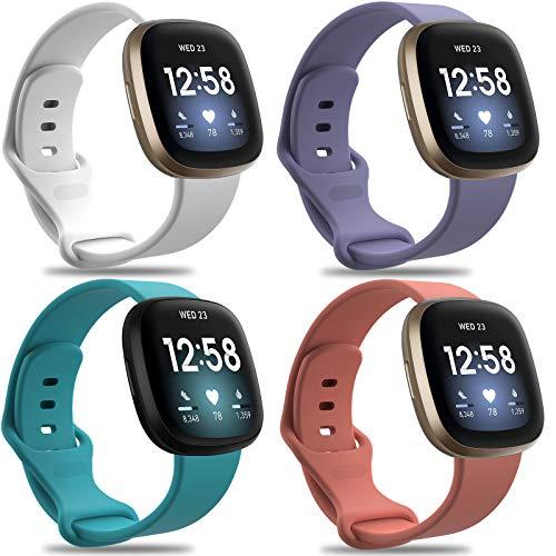 KingAcc - Correa de repuesto para Fitbit Versa 3/Sense para Fitbit Versa 3/Sense, correa de reloj deportivo para mujer y hombre (4 unidades, tamaño pequeño grande)