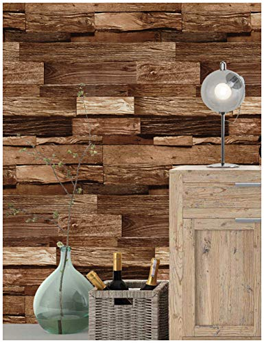 HaokHome 188132 Realistic Faux Wood Plank Wallpaper Black/Coffee/Chocolate for Home Kitchen Decor 20.8'x 31ft