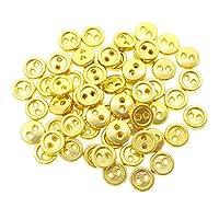 人形用 ドール服の材料 丸形 メッキボタン 二つ穴 6mm ゴールド 60個入