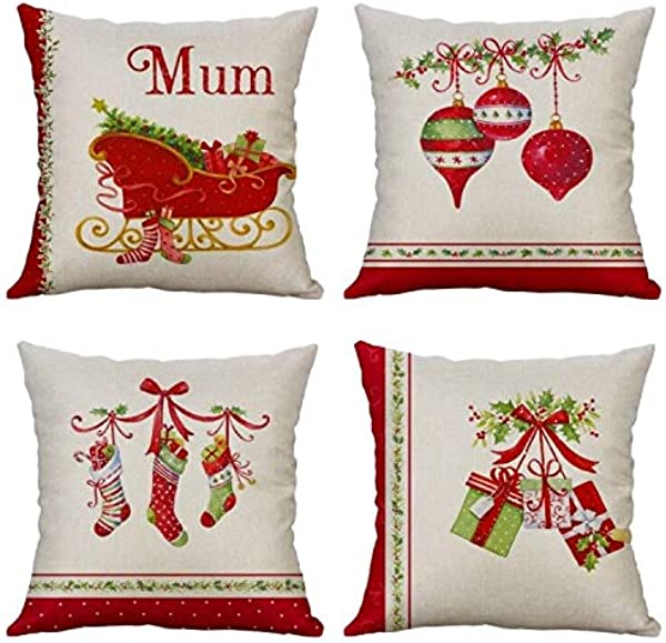 Decorative Throw Pillow Covers 18 X 18 Inch Pillow Covers Cases Christmas Set Of 4 Cushion Covers Home Deco