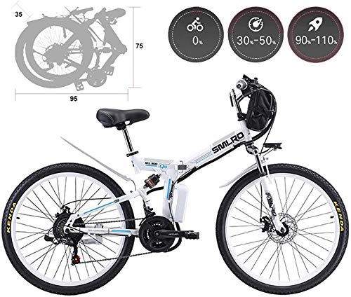 RDJM Electric Bike, 26'' Electric Mountain Bike Adult Folding Comfort Electric Bicycles 21 Speed Gear And Three Working Modes, Hybrid Recumbent/Road Bikes, Aluminium Alloy, Disc Brake Lithium Battery