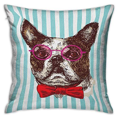 Protector de funda de almohada cuadrada alemana Pop Art Boceto de Bulldog dibujado a mano sobre fondo de rayas Animal divertido con gafas Fundas de cojín multicolor Fundas de almohada para sofá Dormit