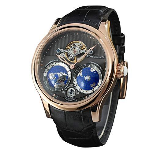 SUYANG Hombres Mira El Reloj Automático Reloj De Aleación De La Aleación De Los Hombres De Los Hombres del Reloj Mecánico Automático Correa De Cuero con Reloj De Pulsera Redondo (Negro + Oro Rosa)