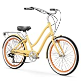 sixthreezero EVRYjourney Women's 7-Speed Step-Through Hybrid Cruiser Bicycle, 26' Wheels and 17.5' Frame, Cream with Black Seat and Grips