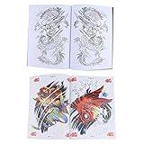 F Fityle A4 74 Páginas Color Carp Sketch Reference Book + A4 48 Páginas Classic Dragon Pattern Design Manuscrito para Arte Corporal