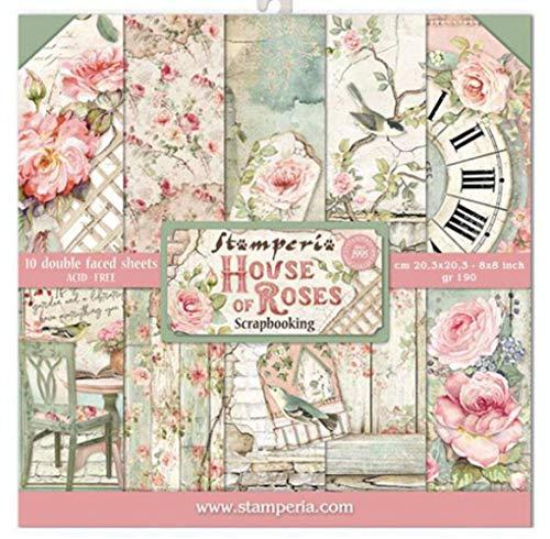 "STAMPERIA House of Roses-Bloc de Papel (10 Hojas, 20,3 x 20,3 x 8 Pulgadas, Doble Cara), Multicolor, 20.3 x 20.3 (8"" x 8"")"