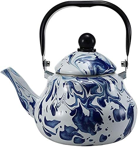 FXLYMR Tea Cups Kettles Home Tea Kettle, Home Teapot Teapot Kettle L Enamel Kettle for Induction Cooker Gas Stoves,Big Ice B Flower Cold Water Teapot Teapot for Stove or Stove Gas Stove