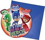 Procos 88635 - Einladungskarten mit Umschlägen PJ Masks, 6 Stück, Kindergeburtstag -