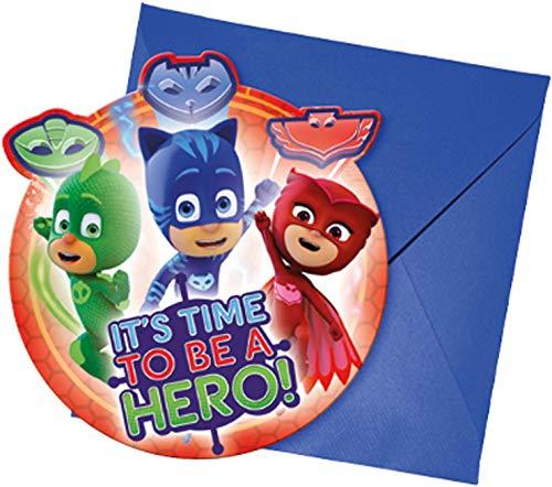 Procos 88635 - Einladungskarten mit Umschlägen PJ Masks, 6 Stück, Kindergeburtstag
