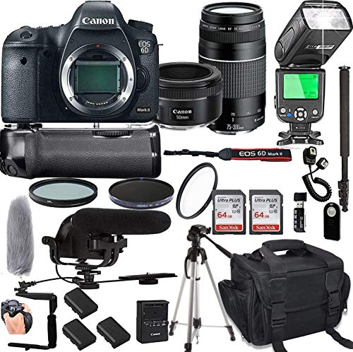 Canon EOS 6D Mark II with 50mm f/1.8 STM Prime Lens + 75-300mm III Lens + 128GB Memory + Pro Battery Bundle + Power Grip + TTL Speed Light + Pro Filters,(24pc Bundle)